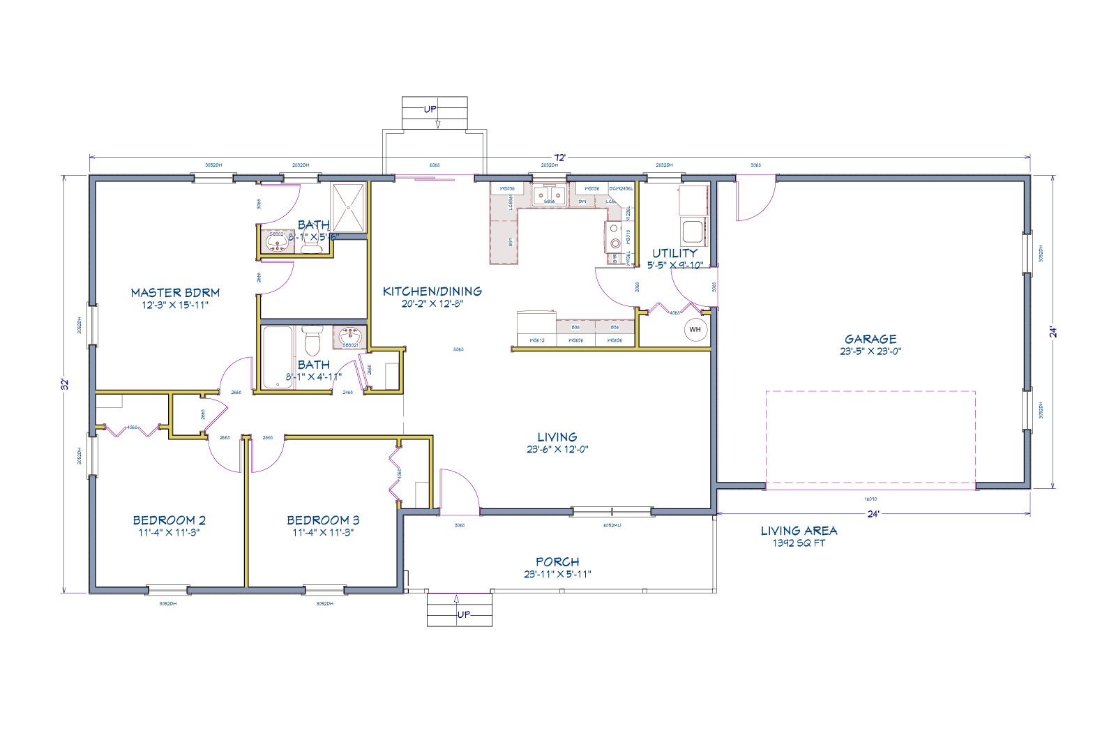 Floor plan for The Barclay home design from H&H Builders, Inc.