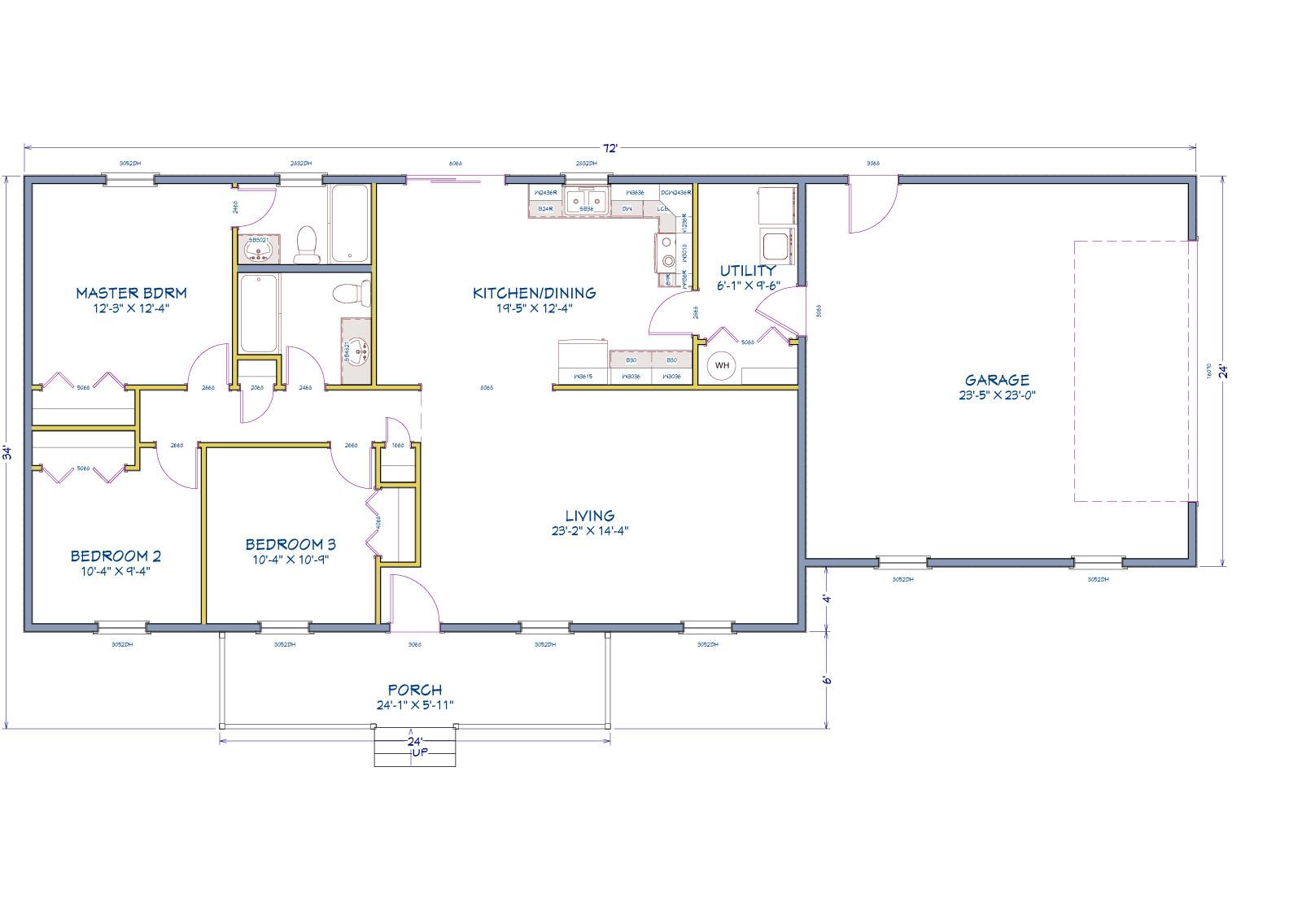 House plan drawing for the Caroline II Floor Plan