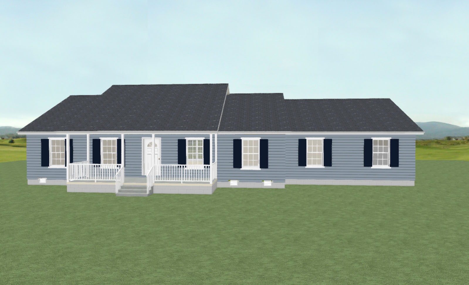Rendering for the Caroline II floor plan, designed by drafting services at H&H Builders, Inc.