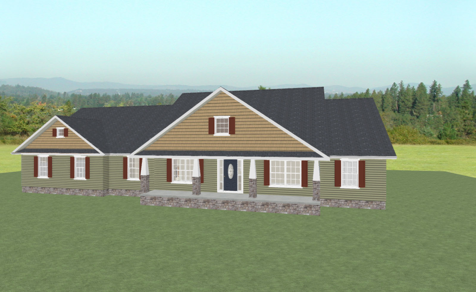 House rendering for the Milford affordable home design from H&H Builders, Inc.