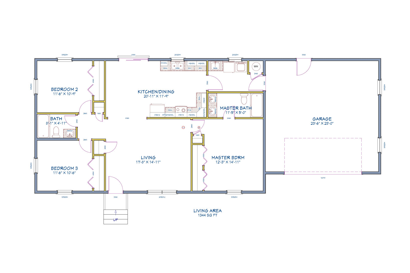 Residential blueprint for three bedroom home