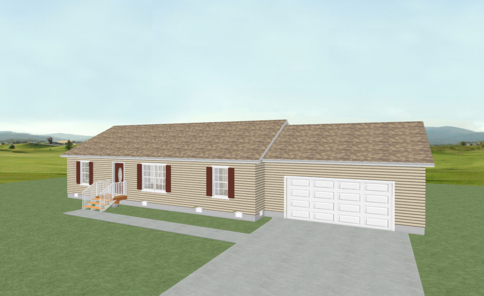 Architectural rendering for small house plans designed and drafting at H&H Builders, Inc.