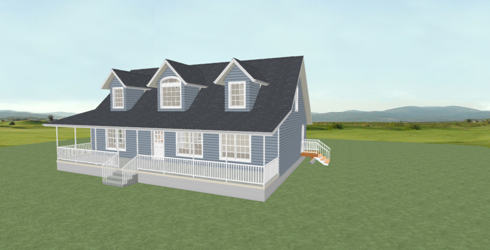 Rendered house design for two-story farmhouse style home