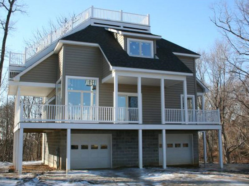 Newly completed custom home designed in a coastal beach house style