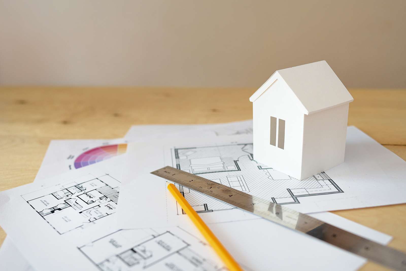 Small house plans in the finishing stages of the drafting process