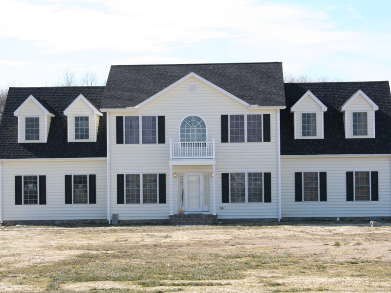 Traditional two story home after its recent construction
