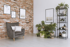 Interior brick wall in a residential living room