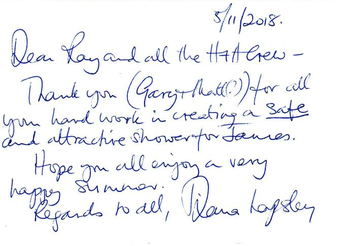 Customer testimonial from one of H&H Builders' previous clients whose shower we remodeled