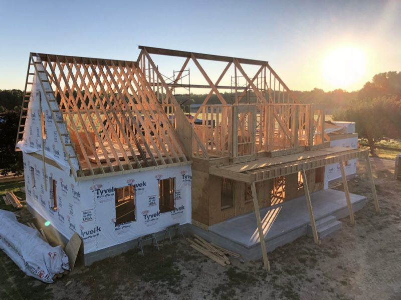 Two-story home designed and built by H&H Builders, Inc. is under construction